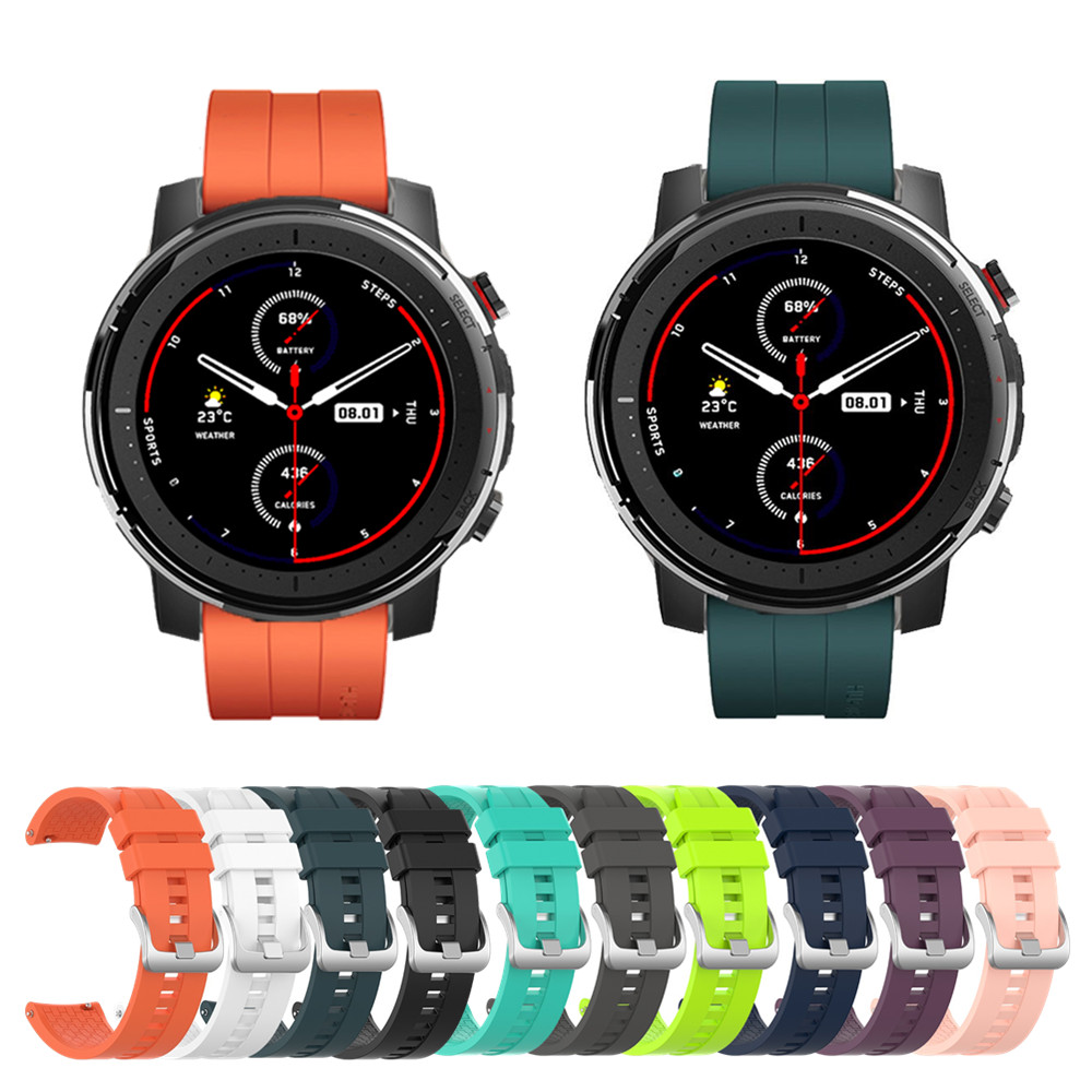 Silicone Wristband Smart Watch Strap For Huami Amazfit Stratos 3 & Stratos 2 & Stratos 1 For Amazfit Pace / GTR 47mm Bracelet