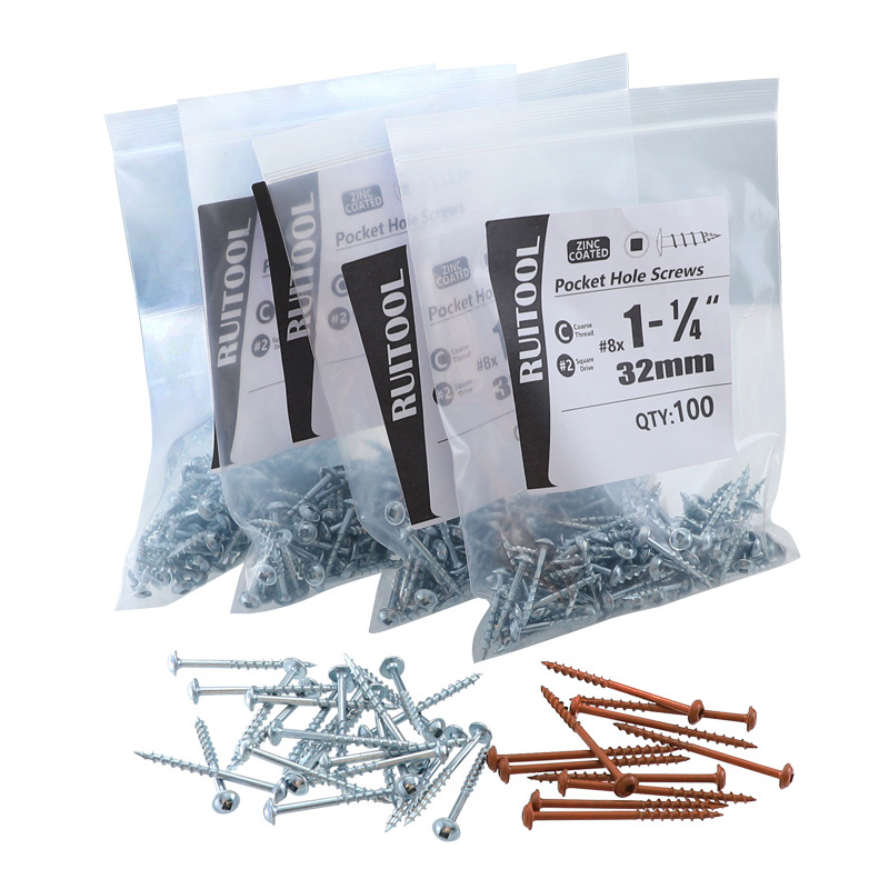 Pocket Hole Screws #2 Square Drive Self-tapping Screws Coarse Washer Head Screws For Pocket Hole Jig