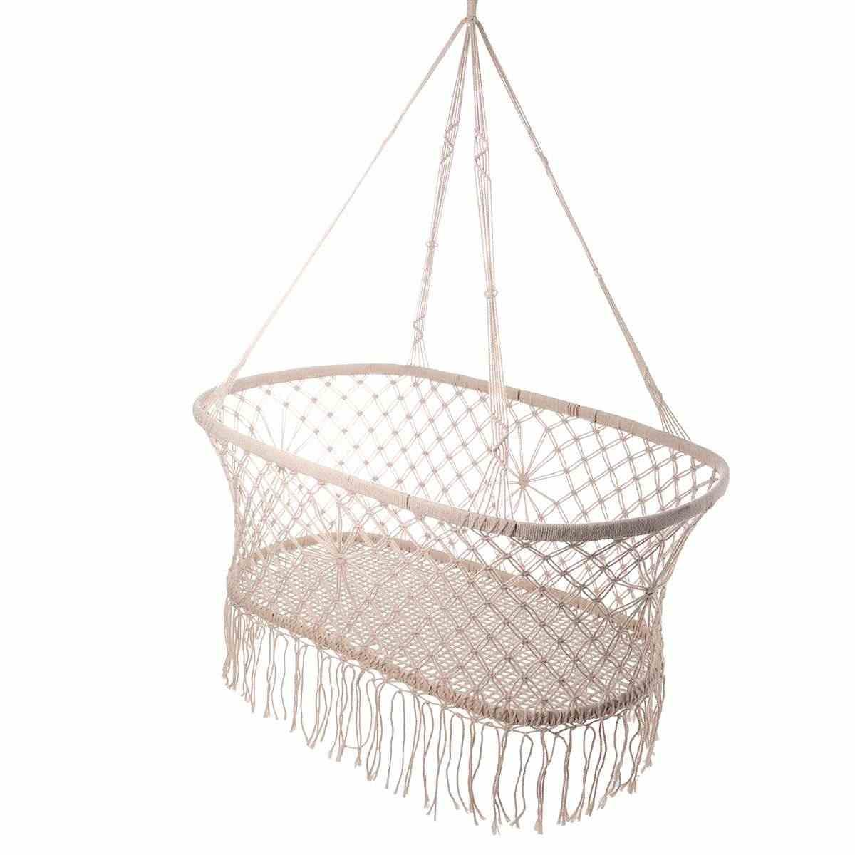 화이트 코 튼 베이비 가든 해먹 아기 유아용 침대 코 튼 짠 로프 스윙 파티오 의자 좌석 침구 베이비 케어 90*45*35cm
