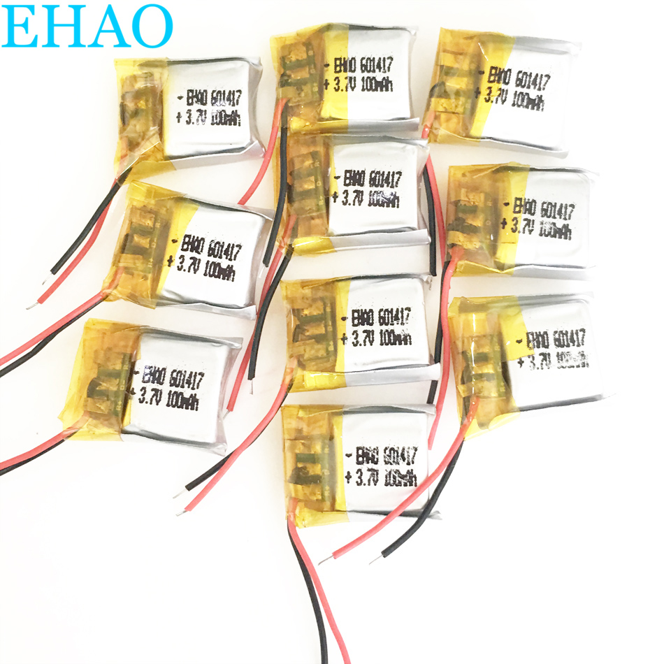 10 pcs EHAO 601417 <font><b>3.7V</b></font> <font><b>100mAh</b></font> LiPo Rechargeable <font><b>Battery</b></font> <font><b>Lithium</b></font> Polymer For Mp3 PAD DVD E-book bluetooth headset headphone image
