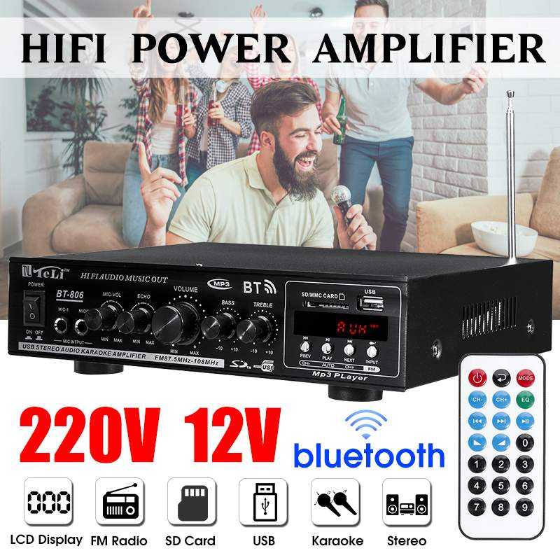 2000W <font><b>Hifi</b></font> Audio Power <font><b>Amplifier</b></font> Stereo Home Theater <font><b>Amplifier</b></font> Audio with Remote Control Support FM USB SD Card bluetooth image