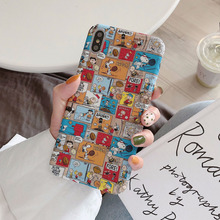Personality Creative Cartoon Comic Mobile Phone Case for iPhone X XS XR XSMax 8 7 6 6S PluS Cute Snoopy Drop Protection Cover