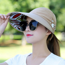 Sun-Hats Pearl Female-Caps Beach-Hat Brim Uv-Protection Wide Summer Women for Packable