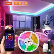 Tuya inteligente wifi led strip 5 m 12v 5050 rgb fita de diodo controle voz trabalho com alexa google assistente luzes natal decoração da sala
