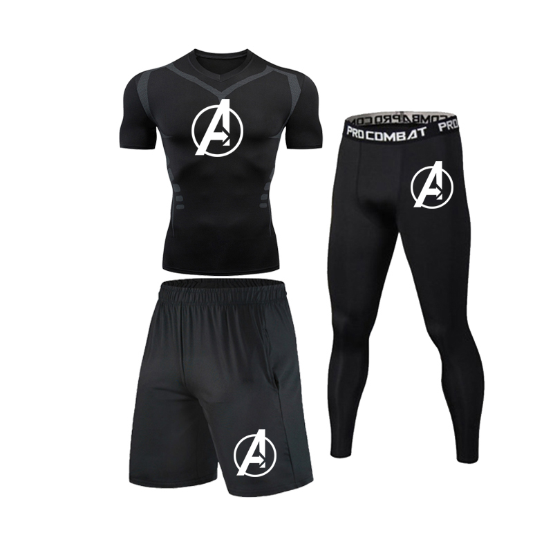 Men's  Running  Sportswear  Sports  Training  Tights  Cycling  Wear  Comprehensive Training Gym compression suit fitness T-shirt