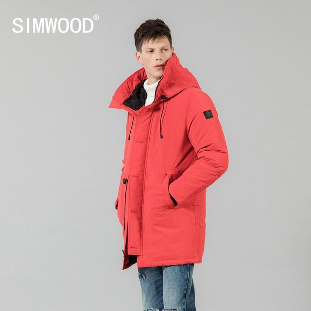 SIMWOOD 90% Grey Duck Down Coats Men 2019 Winter Warm Hooded Parka Fashion Length Jackets Male High Quality Outwear 180298