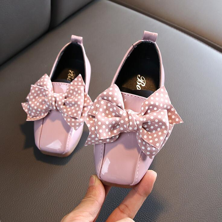 Spring Autumn Baby Girls Princess Dot Bow Shoes Children Casual Shoes Toddler Girls Dress Sneakers Kids Flats Sneakers     - title=
