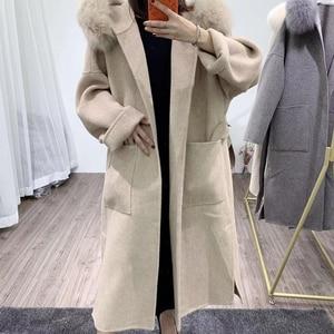 Image 3 - OFTBUY 2020 אמיתי פרווה מעיל חורף מעיל נשים טבעי פרוות שועל צווארון הוד קשמיר צמר תערובות x ארוך הלבשה עליונה streetwear קוריאה