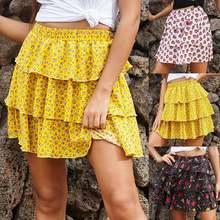 Сексуальная Женская мода Высокая талия юбка с оборками для женщин