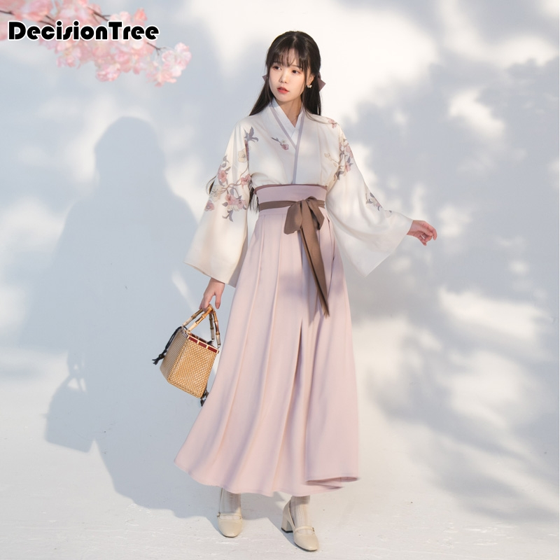 2020 Cotton Women Full Sleeve Japanese Kimono Yukata Korean Traditional Dress Hanbok Costume Hanbok Printing Hanfu Dress