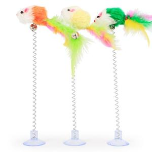 Plastic Cat Toys Feather Funny Cat Mice Shape Fashion False Mouse Pet Products Bottom Sucker Elasti Cat Toy Pet Supplies Decor