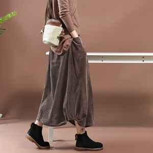 Image 2 - Women Skirt Autumn Winter Large size Long Corduroy Skirt 2019 New Female Elastic Waist pocket Retro Casual Loose Skirt Mori girl