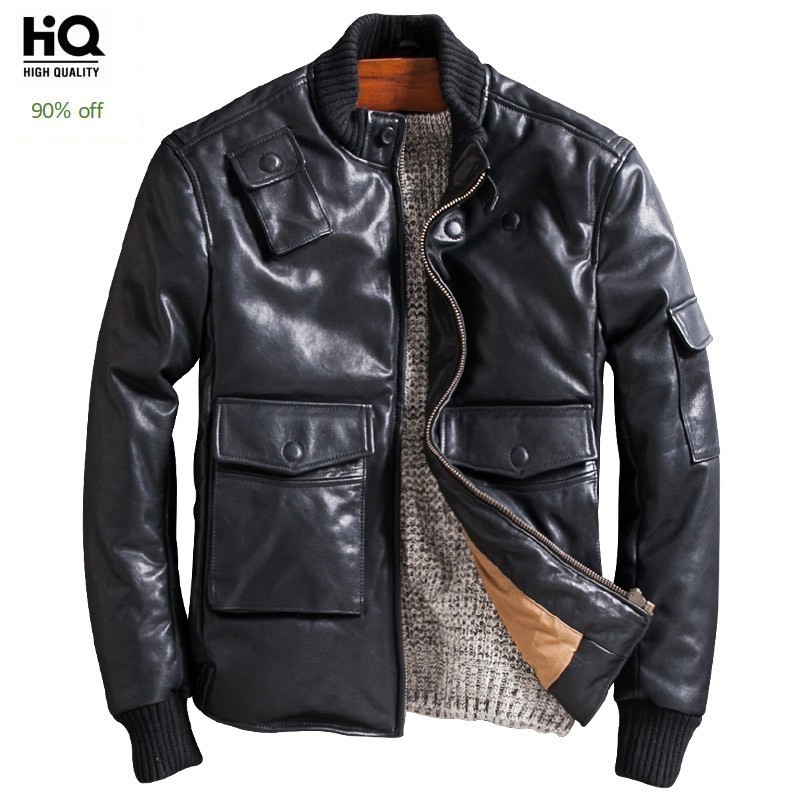 Men Genuine Sheepskin Jacket Brand Casual Winter Thicken Down Coats Fashion Streetwear Black Motorcycle Real Leather Jackets