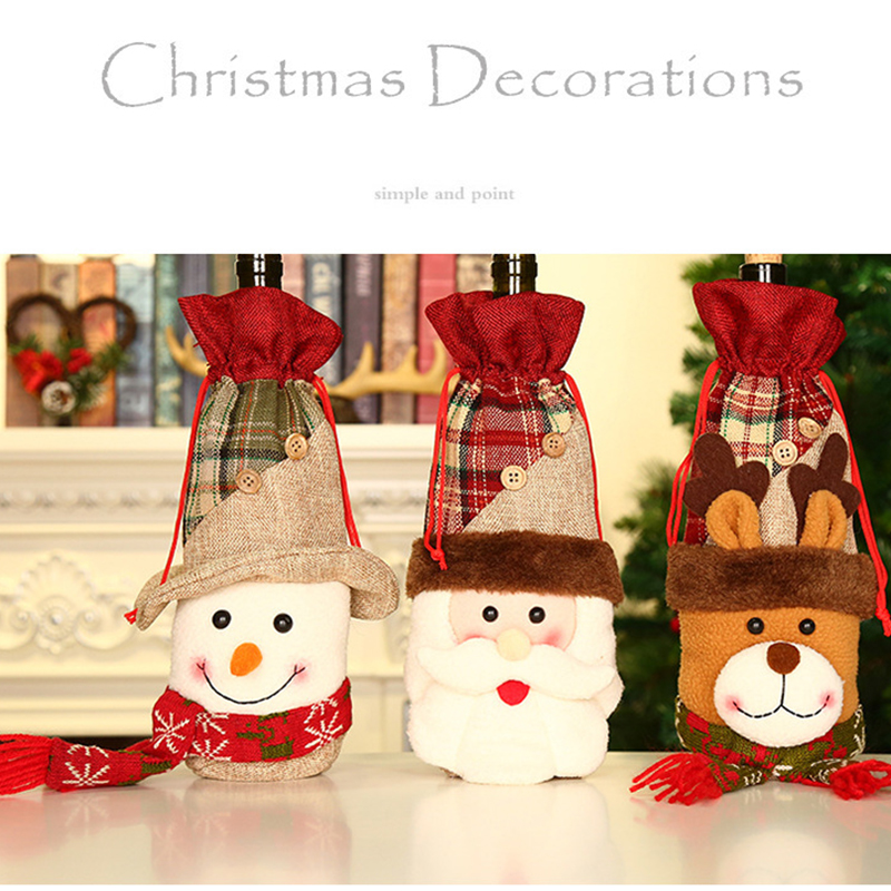 Christmas Wine Bottle Decor Covers Sets Snowman Santa Claus Elk Tied Creative Pockets Sets For New Year Party Dinner Decorations