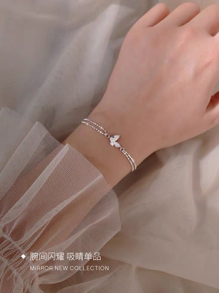 925 sterling silver accessories butterfly with rhinestones cold style simple double-layer bracelet jewelry for female women gift