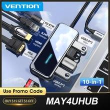 Vention usb c hub tipo-c para hdmi multi usb 3.0 hub adaptador thunderbolt 3 para macbook pro USB-C 3.1 divisor tipo c hub 10 em 1