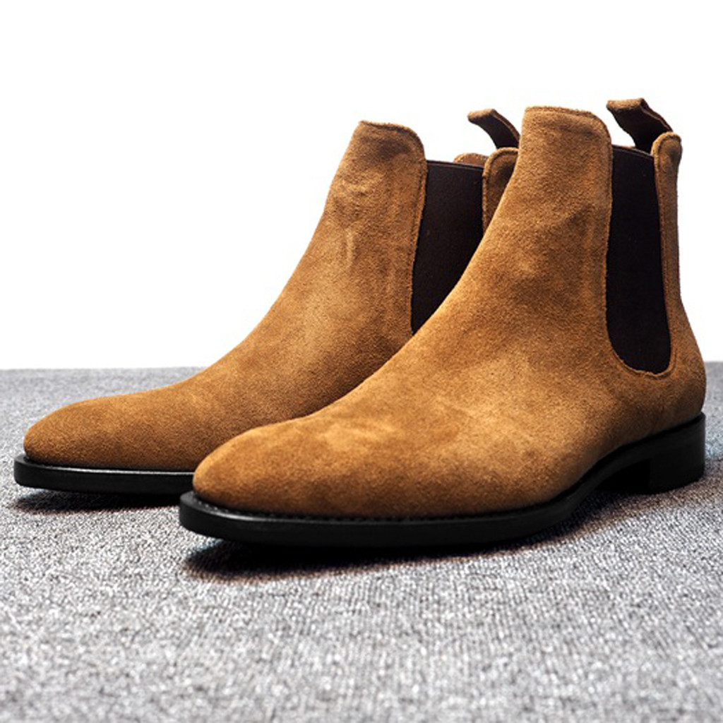 Mens Boots Men Chelsea Boots Ankle Boots Plus Velvet High-top Boots Outdoor Walking Shoes Wear Resistant Casual Shoes L2