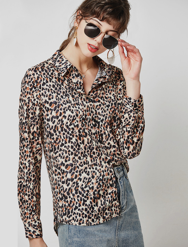 Vintage Leopard Print Blouse Women Casual Shirts 19 Loose Long Sleeve Turn Down Collar Office Shirt Tunic Plus Size Hunt Femme 8