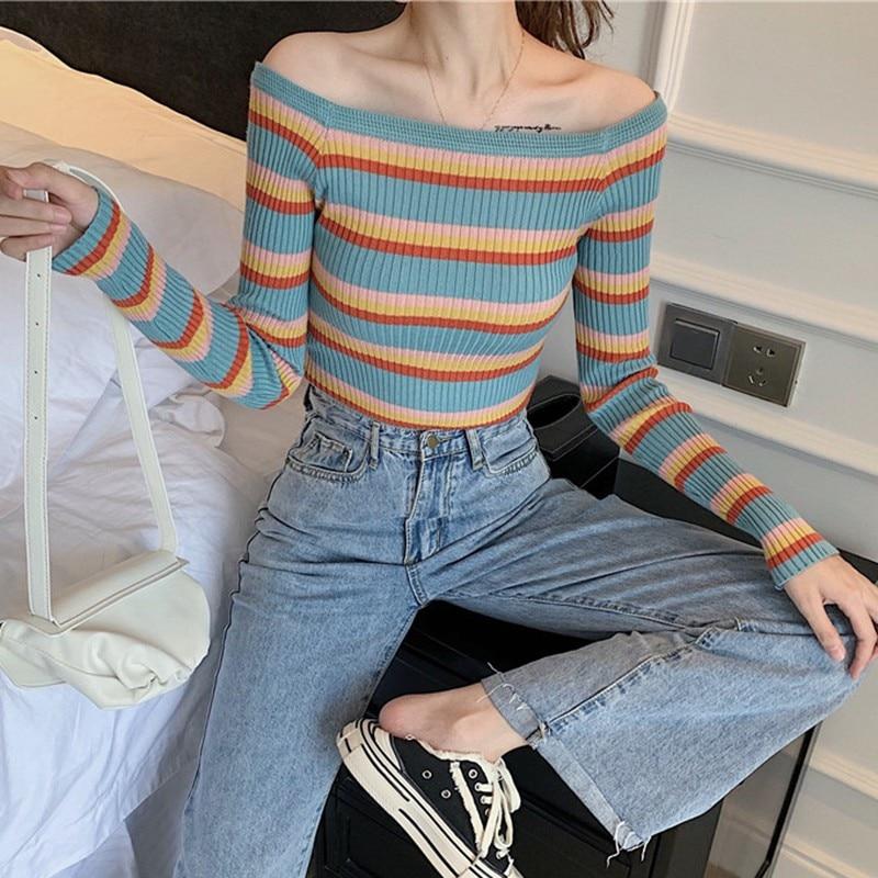 New Fashion Women Sweater Autumn Winter Stripes Print Slim Long Sleeved One Word Collar Slim Bottom Knit Sweater W2