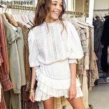BOHO INSPIRED Lorelei katmanlı beyaz parti elbise nakış fırfır elbise kadın o-boyun fener kollu mini pamuk boho elbise 2020