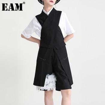 [EAM] Women Loose Fit Black Cross Spliced Irregular Long Vest New Lapel Sleeveless Fashion Tide Spring Summer 2021 1DD9297 1