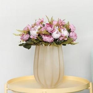 Image 5 - 5 ramo para cabeza de peonías artificiales, peonías pequeñas de seda blanca, flores falsas para fiesta de boda, hogar, flor rosa para decoración, arte rosa