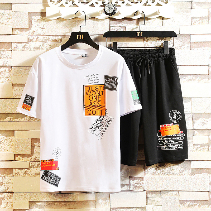 2019 Summer New Style MEN'S Casual Suit-Style Printed Teenager Short Sleeve T-shirt Shorts Two-Piece Set