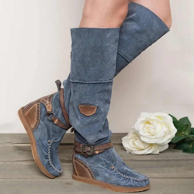 Botas largas para mujer botas por encima de la rodilla botas altas para mujer botas Retro con hebilla zapatos planos de tacón bajo