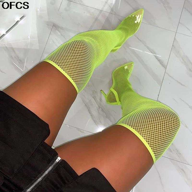 Women Stiletto Over Knee Sock Boots Pointed Toe Ultra High Heel Pull On Shoes D