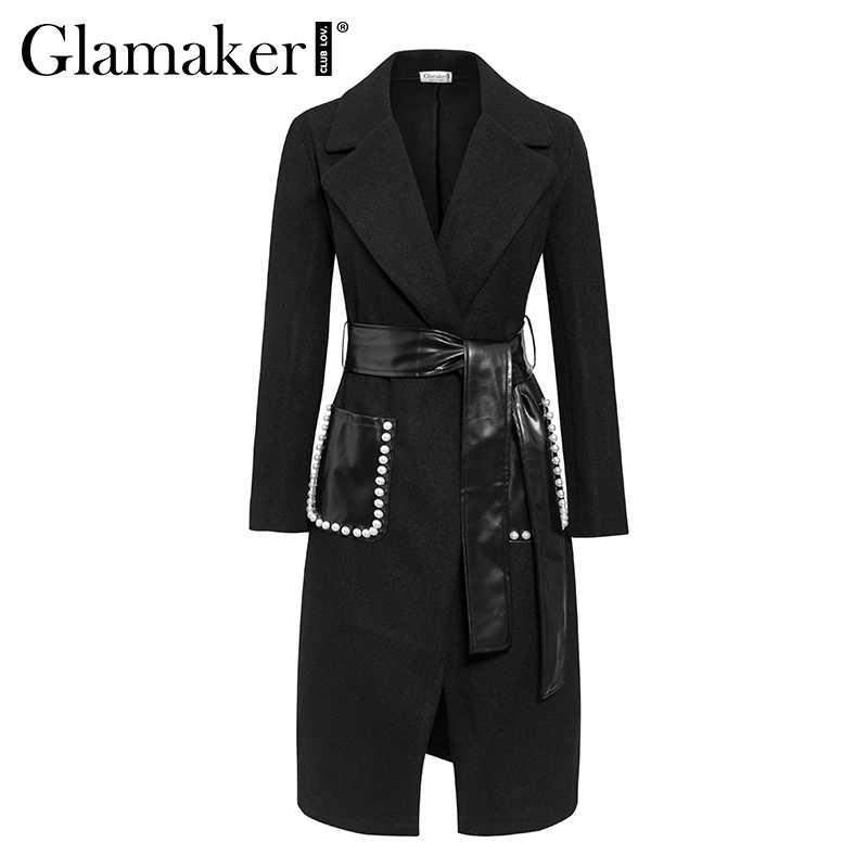 Glamaker Black sexy pearl pocket woolen trench coat Women winter pu leather belt long autumn coat Female streetwear outwear 2019