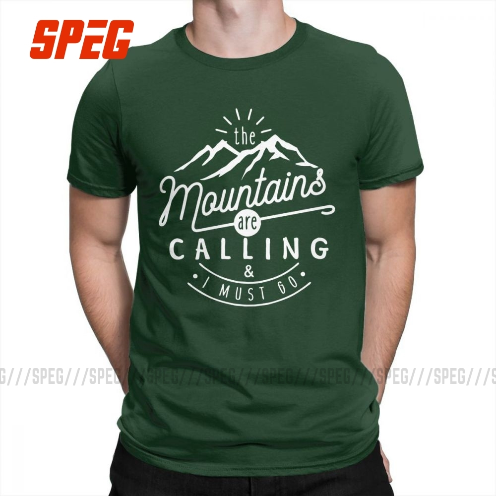 The Mountains Are Calling And I Must Go Hiking T Shirts Men Printed Tops Vintage T-Shirts Crew Neck 100% Cotton Tees