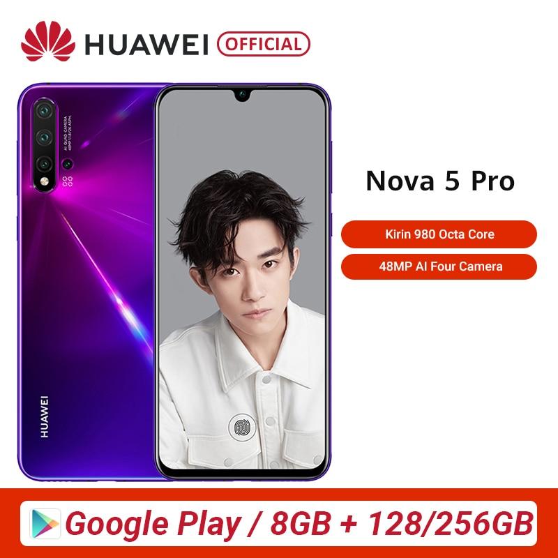 Original Huawei Nova 5 Pro 8GB 128GB 256GB Smartphone 48MP AI Cameras 32MP Front Camera 6.26'' Full Screen Kirin 980 Android 9