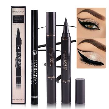 Women Natural Makeup Eyebrow Pencil Waterproof Brown Eye Brow Tint Pen Liner Long Lasting Eyebrow Paint Pen Brush Cosmetics