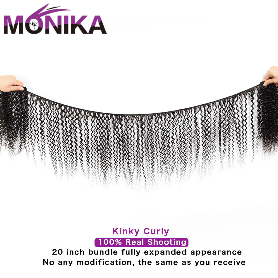 Monika Kinky Curly 3 4 Bundles with Closure Malaysian Hair with Closure Non-Remy Human Hair Weave With Lace Closure With Bundles