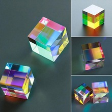 Dichroic Glass Optical Color X-Cube Four Side Polished Rainbow Experiment Prism For Teaching 5*5*5mm K9 Glass Cube Q6D0