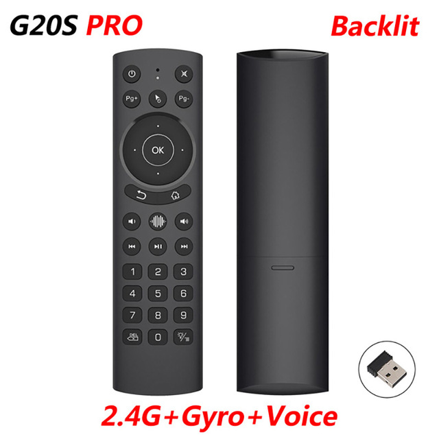 G20S PRO 2.4G kablosuz akıllı ses arkadan aydınlatmalı hava fare jiroskop IR öğrenme Google asistan uzaktan kumanda Android TV kutusu