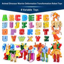 26 letter A Z Alphabet Animal Dinosaur Warrior Deformation Action Figures Transformation Robot Toys For Children Gift Brinquedos