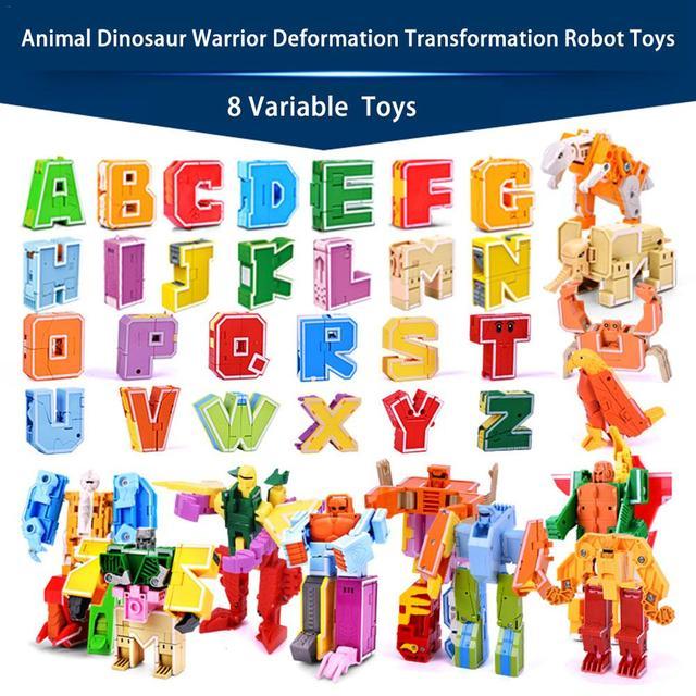 26 letter A Z Alphabet Animal Dinosaur Warrior Deformation Action Figures Transformation Robot Toys For Children Gift Brinquedos
