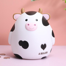 Cow Money Box Vinyl Anti-drop Piggy Bank For Kids Coin Safe Deposit Box Saving Jar Home Decoration Ornaments Children's Gifts