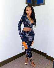 Felyn 2020 melhor qualidade design de moda 2 pcs conjunto de letras com decote em v curto topos calças compridas sexy clube roupas