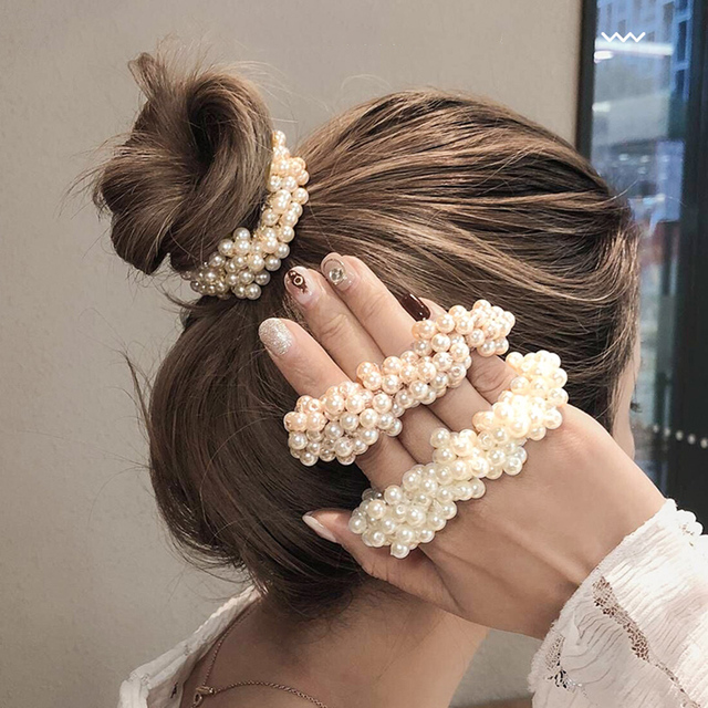 Woman Big Pearl Hair Ties Fashion Korean Style Hairband Scrunchies Girls Ponytail Holders Rubber Band Hair Accessories 1