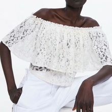 Cotton Embroidery Blouse Women Casual Cloak Half Sleeve Floral Slash Neck Short Tops And Blouses