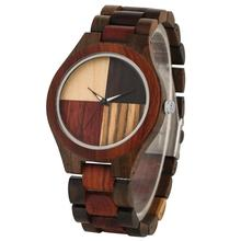 New Fashion Quartz Wooden Watch Male Splice Color Solid Wood