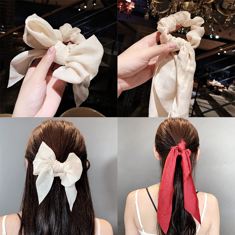 Scrunchie Ponytail Holder Bow Streamers Rubber Bands Tiara Girl Hair Bands