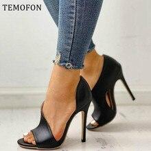TEMOFON Women Pumps shoes open toed heels women high