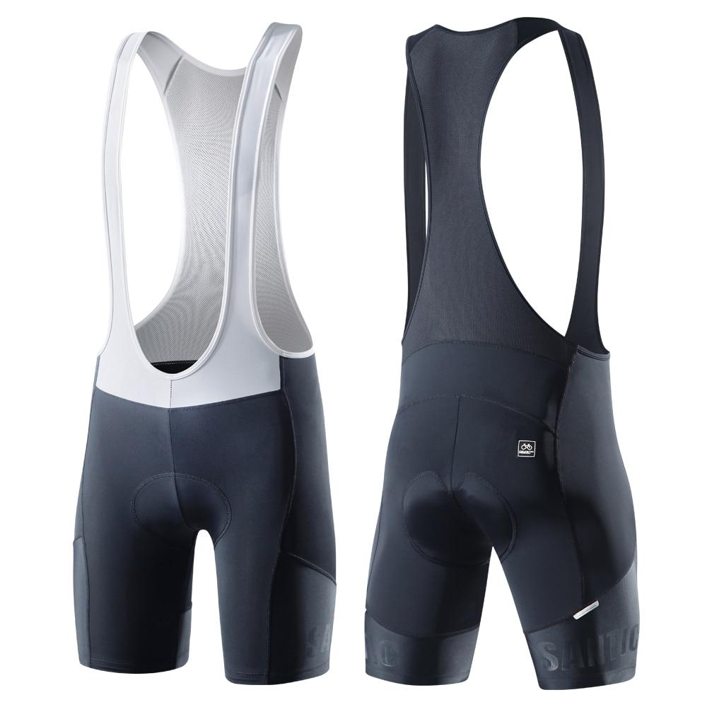 Santic-pantalones cortos con pechera para hombre, para Ciclismo de montaña, acolchados, para verano, K7MC033
