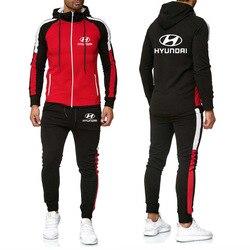 Мужская куртка для HYUNDAI с логотипом автомобиля, толстовка с принтом, модная мужская толстовка в стиле хип-хоп, сшитая Мужская куртка + штаны, ...