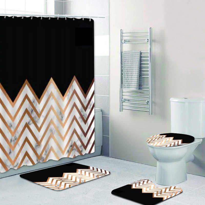luxury black gold chevrons zigzag marble shower curtain set for bathroom geometric golden foil bath curtains mats rug home decor