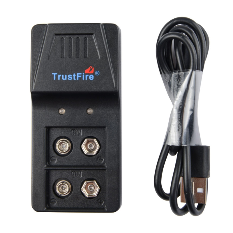 USB 9V 6F22 Battery Charger 2 Slot for 9V Rechargeable Li-lon and Ni-MH battery C90F