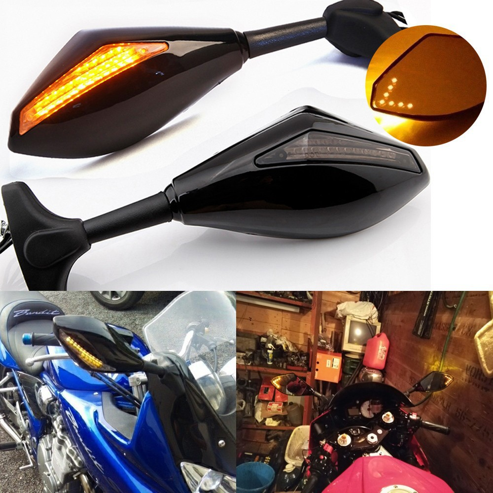 Motorcycle Mirror Turn Signal Lights For Honda CBF CBR 1987-2010 Motorbike Motorcycle Rearview Mirror Led Indicator Dual Lamps